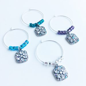 crystal flower wine charms set of 4
