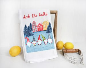 cute tea towels with gnomes