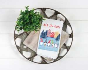 cute tea towels with swedish Christmas gnomes