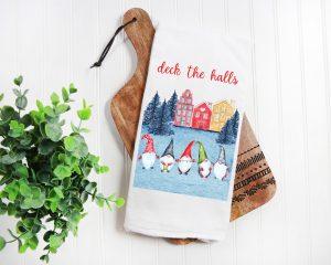 Deck the Halls Kitchen Gnomes Towel