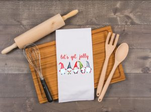 lets get jolly christmas gnomes kitchen towel