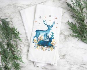 Christmas Deer Kitchen Hand Towel 28x29in flour sack towel