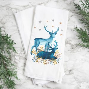Christmas Deer Kitchen Hand Towel 28x29in flour sack towel