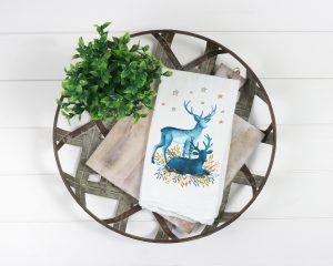 christmas deer silhouette tea towel