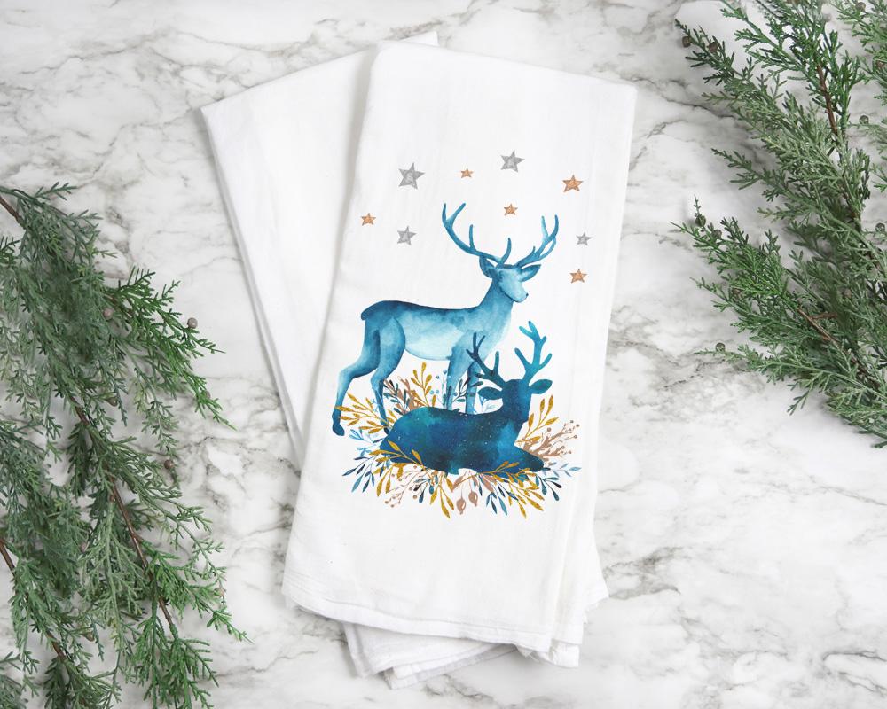 Christmas Deer Kitchen Hand Towels