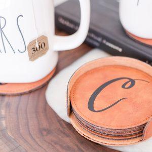 Chestnut Leather Coaster Set