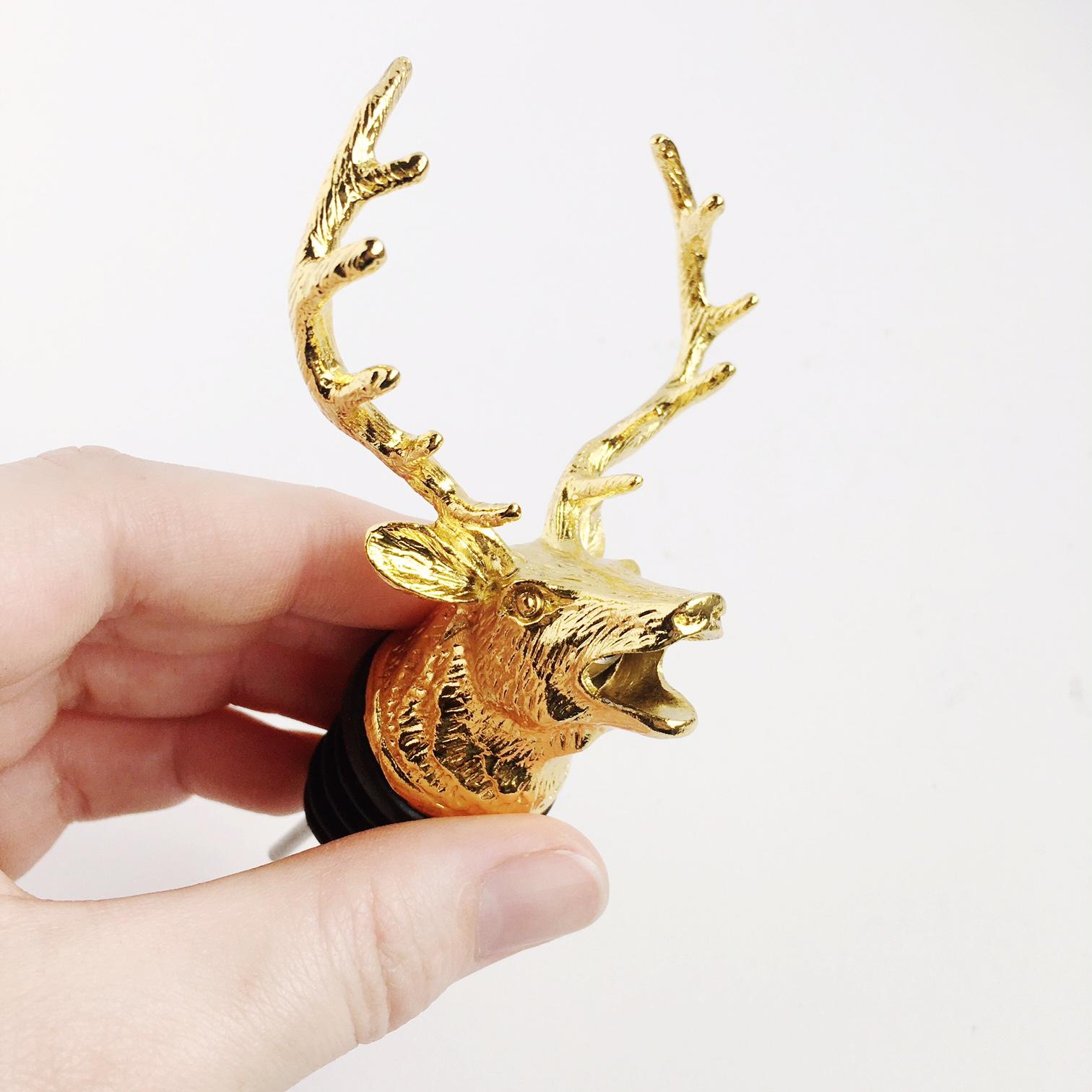 Gold Deer Wine Bottle Pourer