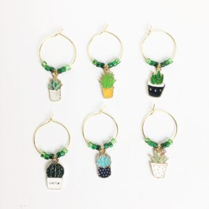 Succulent Wine Charms