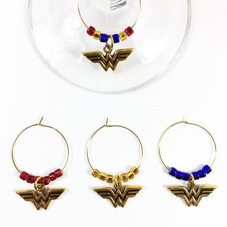 set of 4 wonder woman wine charms