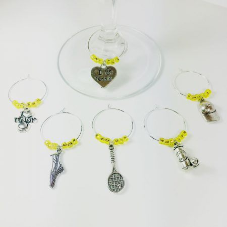 Tennis Wine Charms